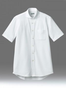 BM-FB4560U ワイドカラーニット半袖シャツ 拡大画像 ホワイト