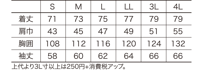 KU-25877 長袖シャツ サイズ表