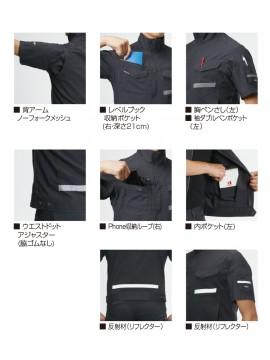 BUR9096 半袖シャツ(ユニセックス) 多機能紹介