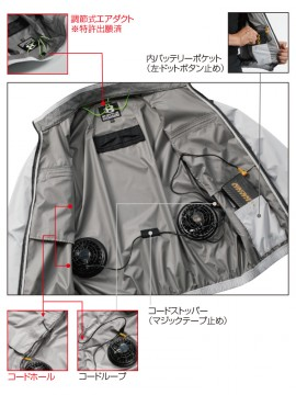 AC1076 エアークラフト半袖ブルゾン(ユニセックス) ファン装着時
