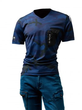 BUR4057 VネックTシャツ カモフラネイビー