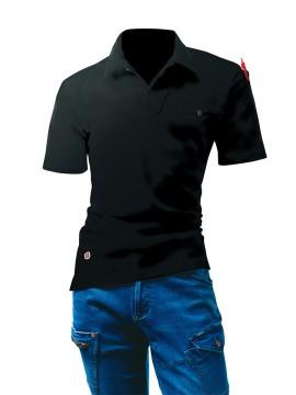 BUR4058 オープンカラーポロシャツ ブラック