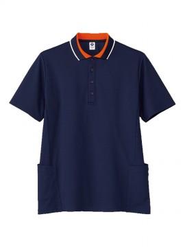 BM-TB4504U ユニセックス ポロシャツ 拡大画像 ネイビー×オレンジ