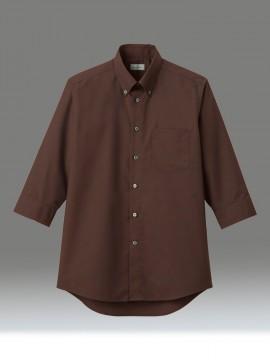 BM-FB5050M メンズボタンダウン七分袖シャツ 拡大画像 ブラウン
